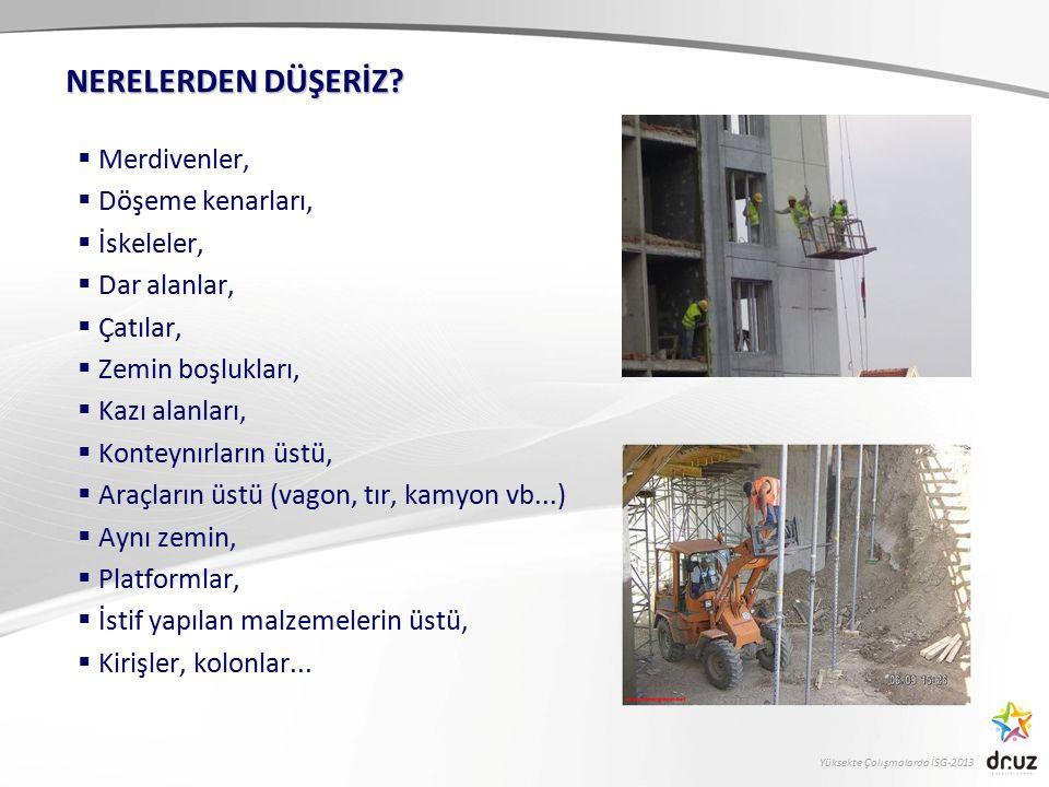 Yüksekte Çalışmalarda İSG-2013  Merdivenler,  Döşeme kenarları,  İskeleler,  Dar alanlar,  Çatılar,  Zemin boşlukları,  Kazı alanları,  Kontey