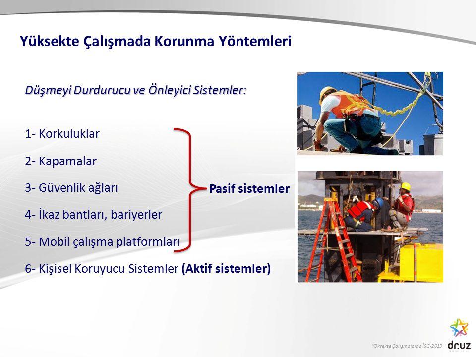 Yüksekte Çalışmalarda İSG-2013 Düşmeyi Durdurucu ve Önleyici Sistemler: 1- Korkuluklar 2- Kapamalar 3- Güvenlik ağları 4- İkaz bantları, bariyerler 5-