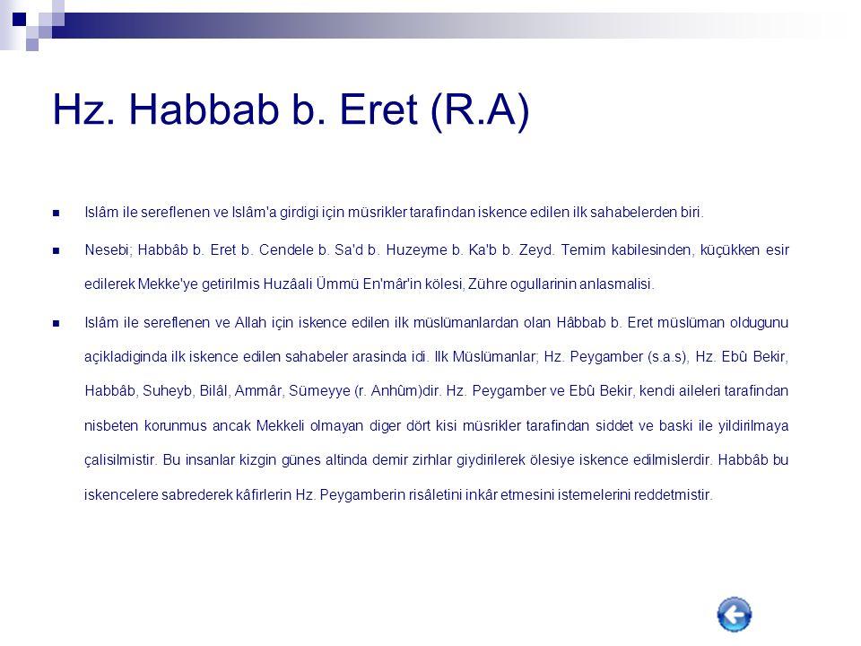 Hz. Hamza (R.A) Hz. Peygamber'in amcasi, Sehidlerin efendisi. Künyesi; Ebn Ya'la veya Ebû Ammâre; Lakabi; Esedullah (Allah'in Aslani)dir. Babasi Abdul