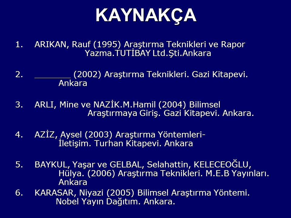 KAYNAKÇA 1.ARIKAN, Rauf (1995) Araştırma Teknikleri ve Rapor Yazma.TUTİBAY Ltd.Şti.Ankara 2._______ (2002) Araştırma Teknikleri. Gazi Kitapevi. Ankara