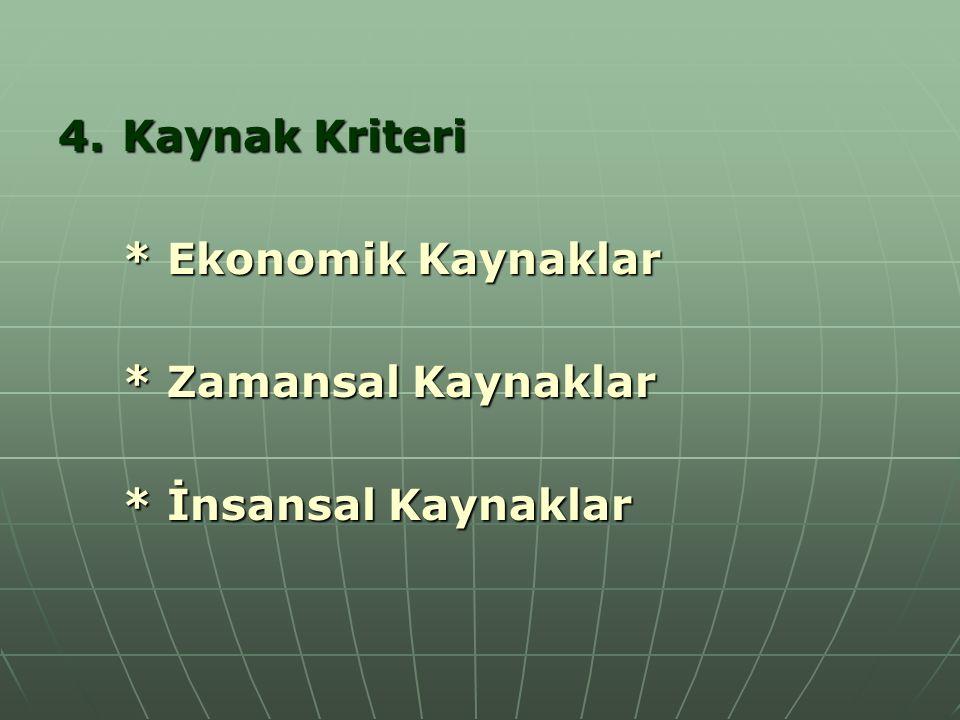 4.Kaynak Kriteri * Ekonomik Kaynaklar * Zamansal Kaynaklar * İnsansal Kaynaklar