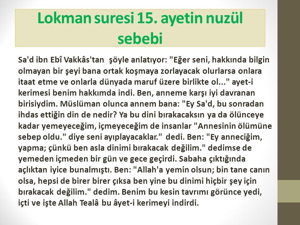 Lokman suresi 15. ayetin nuzül sebebi Sa'd ibn Ebî Vakkâs'tan şöyle anlatıyor: