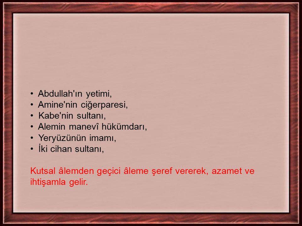 Abdullah'ın yetimi, Amine'nin ciğerparesi, Kabe'nin sultanı, Alemin manevî hükümdarı, Yeryüzünün imamı, İki cihan sultanı, Kutsal âlemden geçici âleme