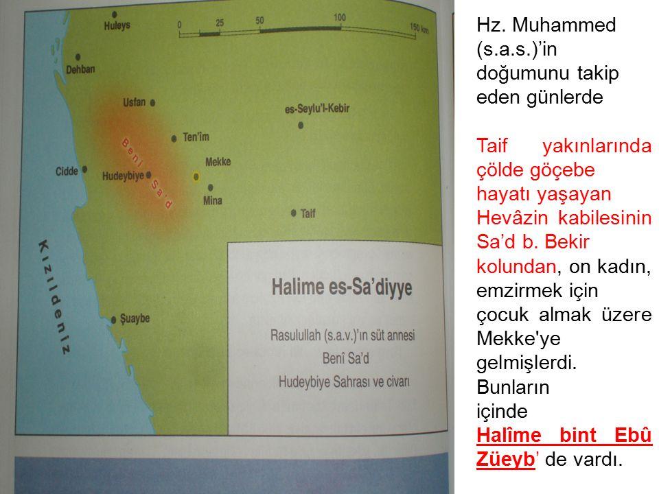 Hz. Muhammed (s.a.s.)'in doğumunu takip eden günlerde Taif yakınlarında çölde göçebe hayatı yaşayan Hevâzin kabilesinin Sa'd b. Bekir kolundan, on kad