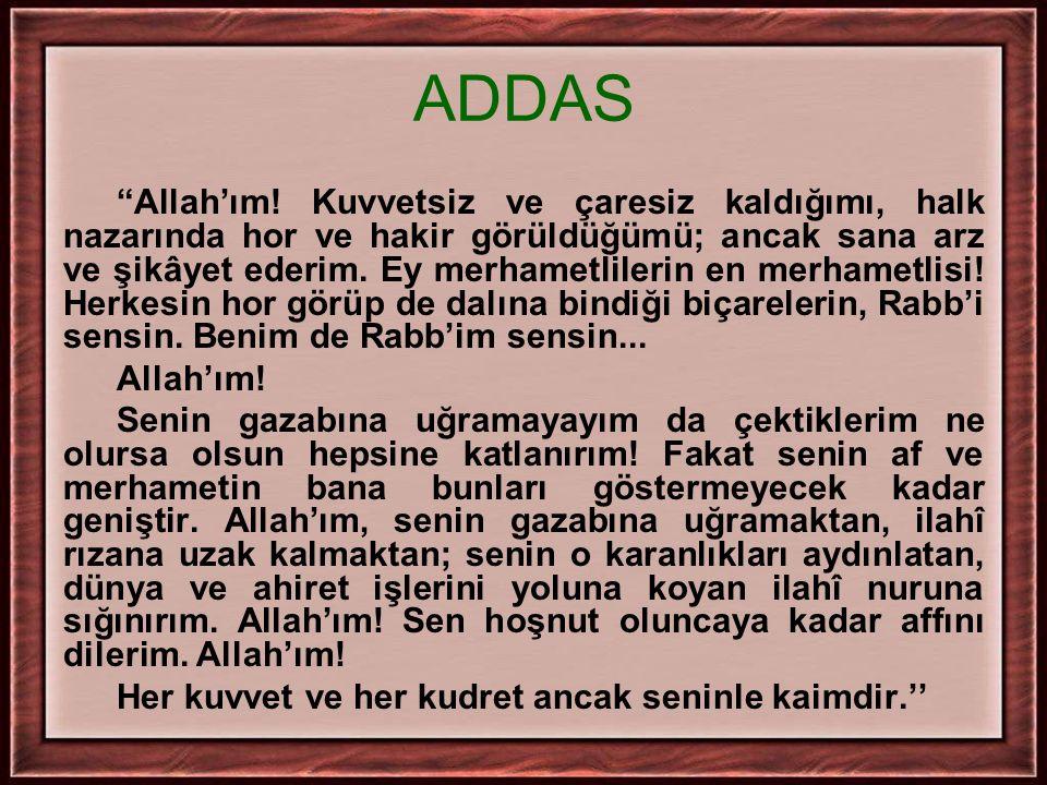 """ADDAS """"Allah'ım! Kuvvetsiz ve çaresiz kaldığımı, halk nazarında hor ve hakir görüldüğümü; ancak sana arz ve şikâyet ederim. Ey merhametlilerin en merh"""