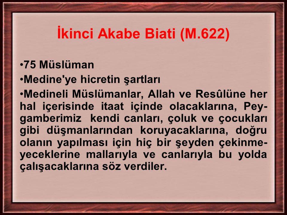 İkinci Akabe Biati (M.622) 75 Müslüman Medine'ye hicretin şartları Medineli Müslümanlar, Allah ve Resûlüne her hal içerisinde itaat içinde olacakların