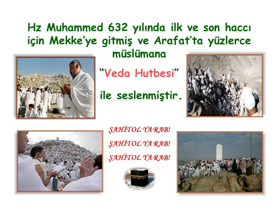 """Hz Muhammed 632 yılında ilk ve son haccı için Mekke'ye gitmiş ve Arafat'ta yüzlerce müslümana """"Veda Hutbesi"""" ile seslenmiştir. ŞAHİT OL YA RAB!"""