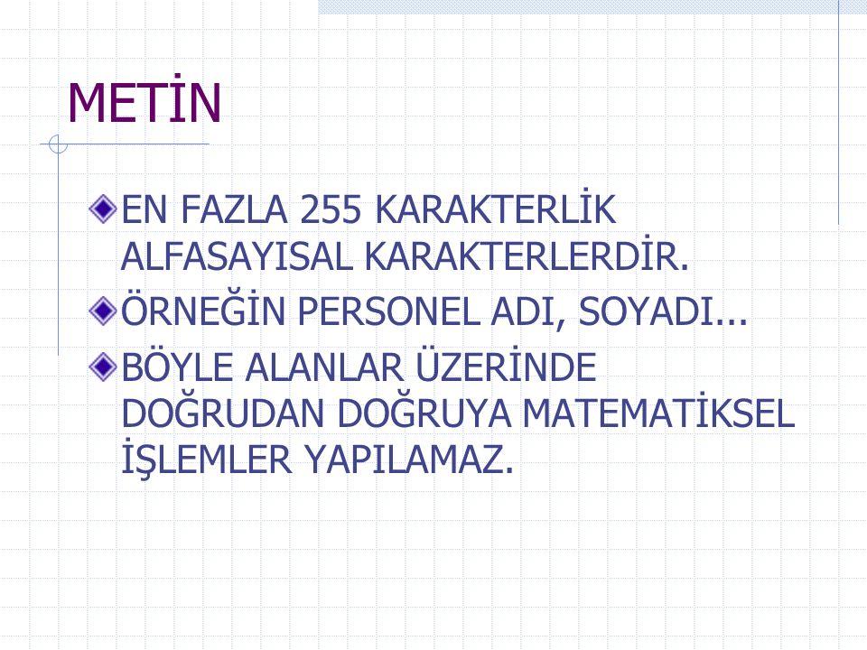 METİN EN FAZLA 255 KARAKTERLİK ALFASAYISAL KARAKTERLERDİR.