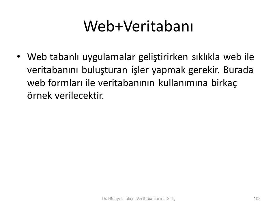105 Web+Veritabanı Web tabanlı uygulamalar geliştirirken sıklıkla web ile veritabanını buluşturan işler yapmak gerekir.