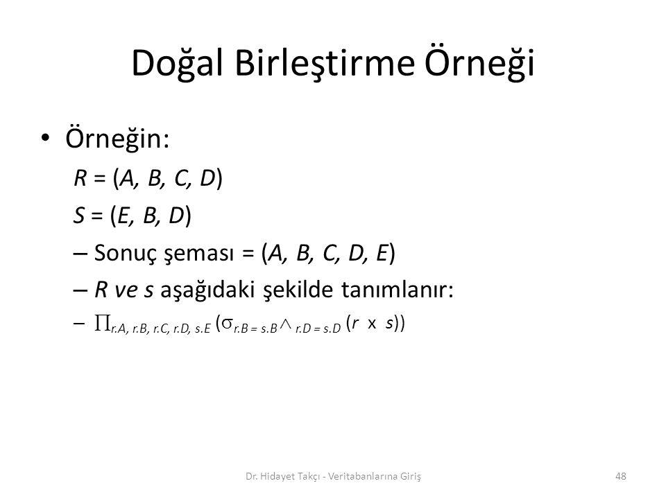 Doğal Birleştirme Örneği Örneğin: R = (A, B, C, D) S = (E, B, D) – Sonuç şeması = (A, B, C, D, E) – R ve s aşağıdaki şekilde tanımlanır: –  r.A, r.B, r.C, r.D, s.E (  r.B = s.B  r.D = s.D (r x s)) 48Dr.