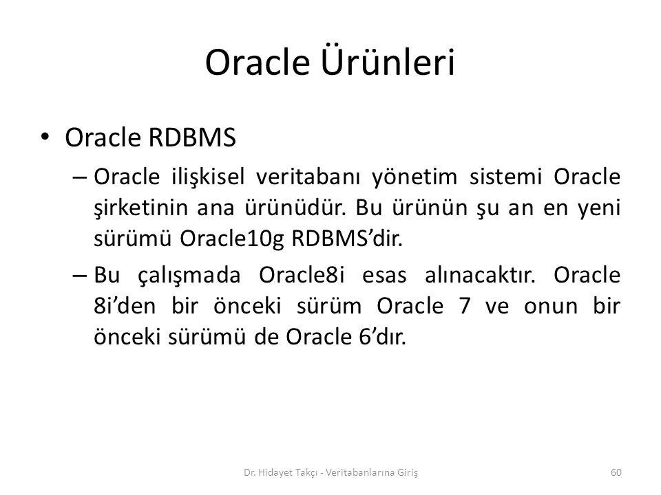 Oracle Ürünleri Oracle RDBMS – Oracle ilişkisel veritabanı yönetim sistemi Oracle şirketinin ana ürünüdür.
