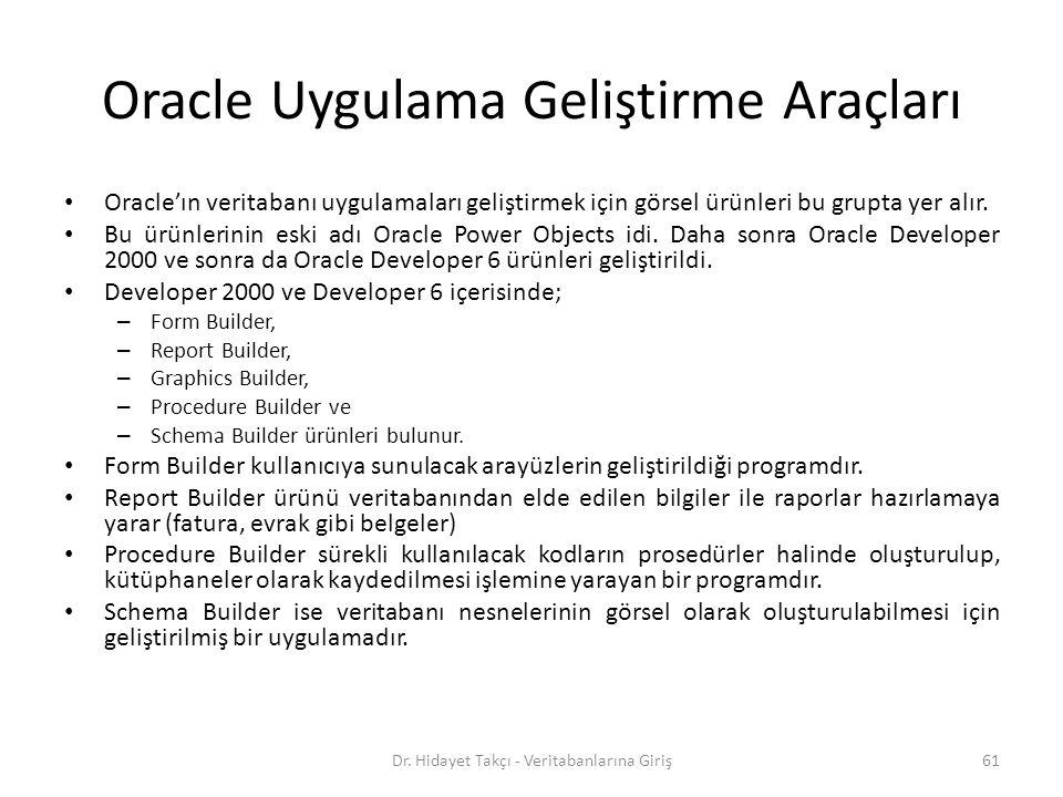 Oracle Uygulama Geliştirme Araçları Oracle'ın veritabanı uygulamaları geliştirmek için görsel ürünleri bu grupta yer alır.