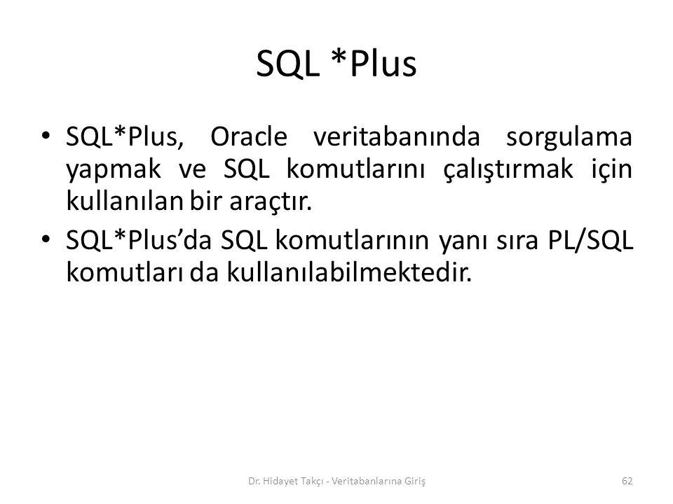 SQL *Plus SQL*Plus, Oracle veritabanında sorgulama yapmak ve SQL komutlarını çalıştırmak için kullanılan bir araçtır.