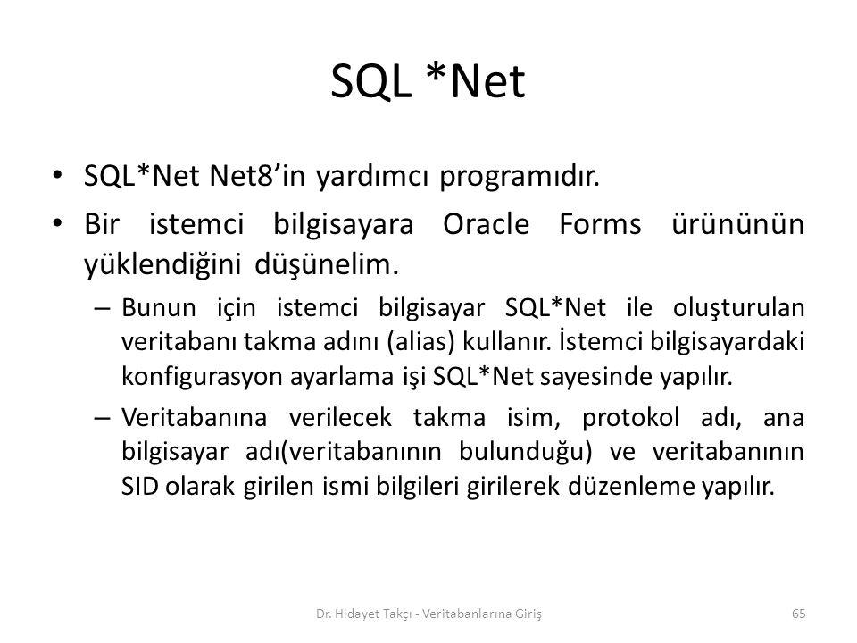 SQL *Net SQL*Net Net8'in yardımcı programıdır.