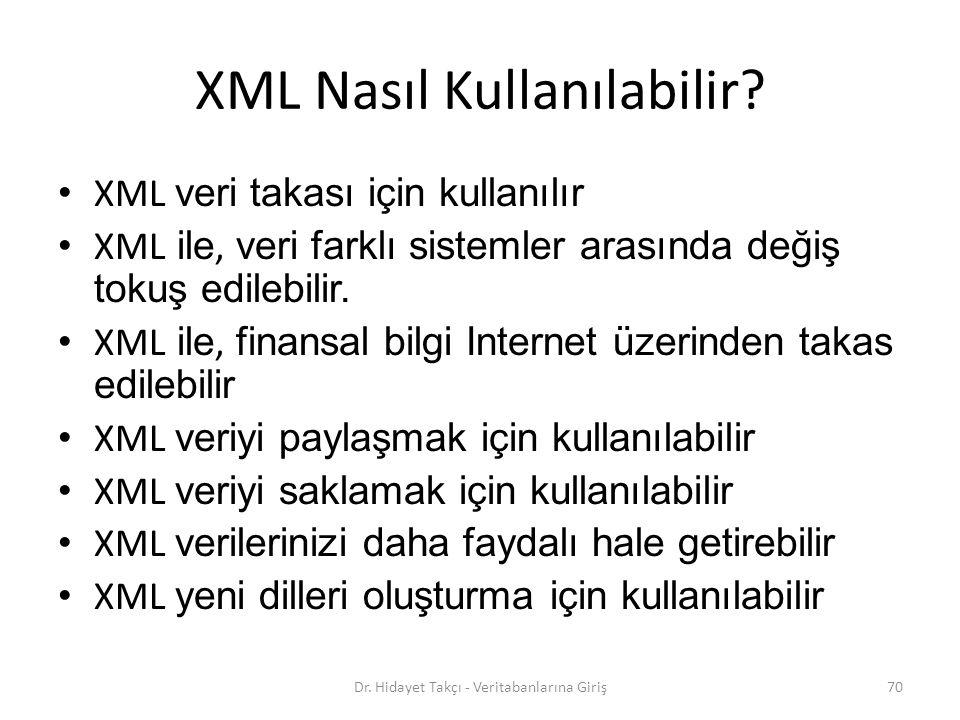 XML Nasıl Kullanılabilir.