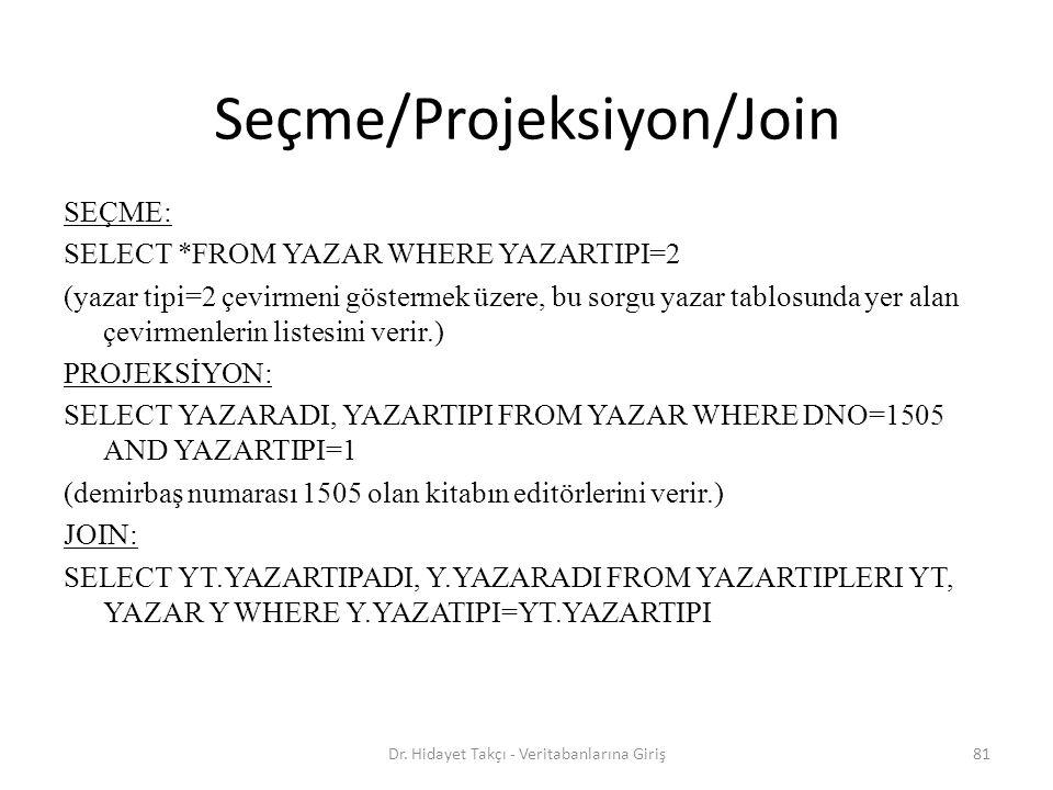81 Seçme/Projeksiyon/Join SEÇME: SELECT *FROM YAZAR WHERE YAZARTIPI=2 (yazar tipi=2 çevirmeni göstermek üzere, bu sorgu yazar tablosunda yer alan çevirmenlerin listesini verir.) PROJEKSİYON: SELECT YAZARADI, YAZARTIPI FROM YAZAR WHERE DNO=1505 AND YAZARTIPI=1 (demirbaş numarası 1505 olan kitabın editörlerini verir.) JOIN: SELECT YT.YAZARTIPADI, Y.YAZARADI FROM YAZARTIPLERI YT, YAZAR Y WHERE Y.YAZATIPI=YT.YAZARTIPI Dr.