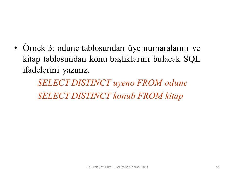 95 Örnek 3: odunc tablosundan üye numaralarını ve kitap tablosundan konu başlıklarını bulacak SQL ifadelerini yazınız.