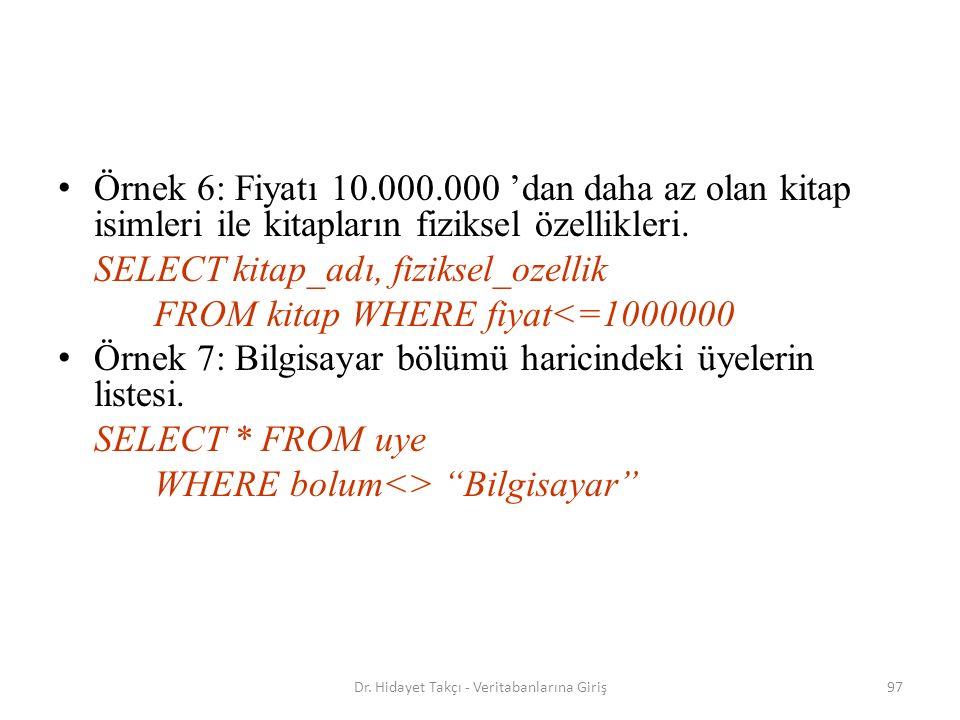97 Örnek 6: Fiyatı 10.000.000 'dan daha az olan kitap isimleri ile kitapların fiziksel özellikleri.