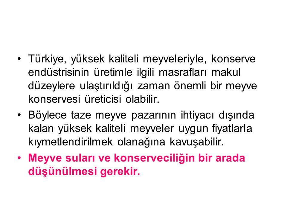 Türkiye, yüksek kaliteli meyveleriyle, konserve endüstrisinin üretimle ilgili masrafları makul düzeylere ulaştırıldığı zaman önemli bir meyve konservesi üreticisi olabilir.