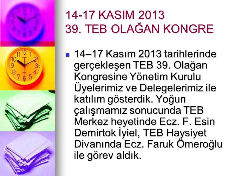 14-17 KASIM 2013 39. TEB OLAĞAN KONGRE 14–17 Kasım 2013 tarihlerinde gerçekleşen TEB 39.