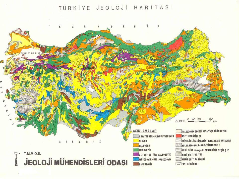  Birinci Zaman arazisini oluşturan yaşlı ve sert kütleler olan masiflerin başlıcaları şunlardır: Trakya'da Yıldız masifi, Ege Bölgesi'nde Menderes (Saruhan – Menteşe) masifi, İç Anadolu'da Kırşehir masifi, Doğu Anadolu'da Bitlis masifi, Karadeniz Bölgesi'nde ise Daday – Devrekani masifi.