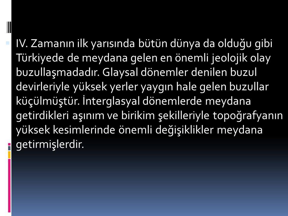  IV. Zamanın ilk yarısında bütün dünya da olduğu gibi Türkiyede de meydana gelen en önemli jeolojik olay buzullaşmadadır. Glaysal dönemler denilen bu