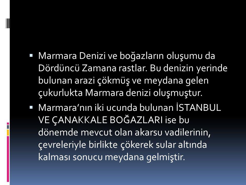  Marmara Denizi ve boğazların oluşumu da Dördüncü Zamana rastlar. Bu denizin yerinde bulunan arazi çökmüş ve meydana gelen çukurlukta Marmara denizi