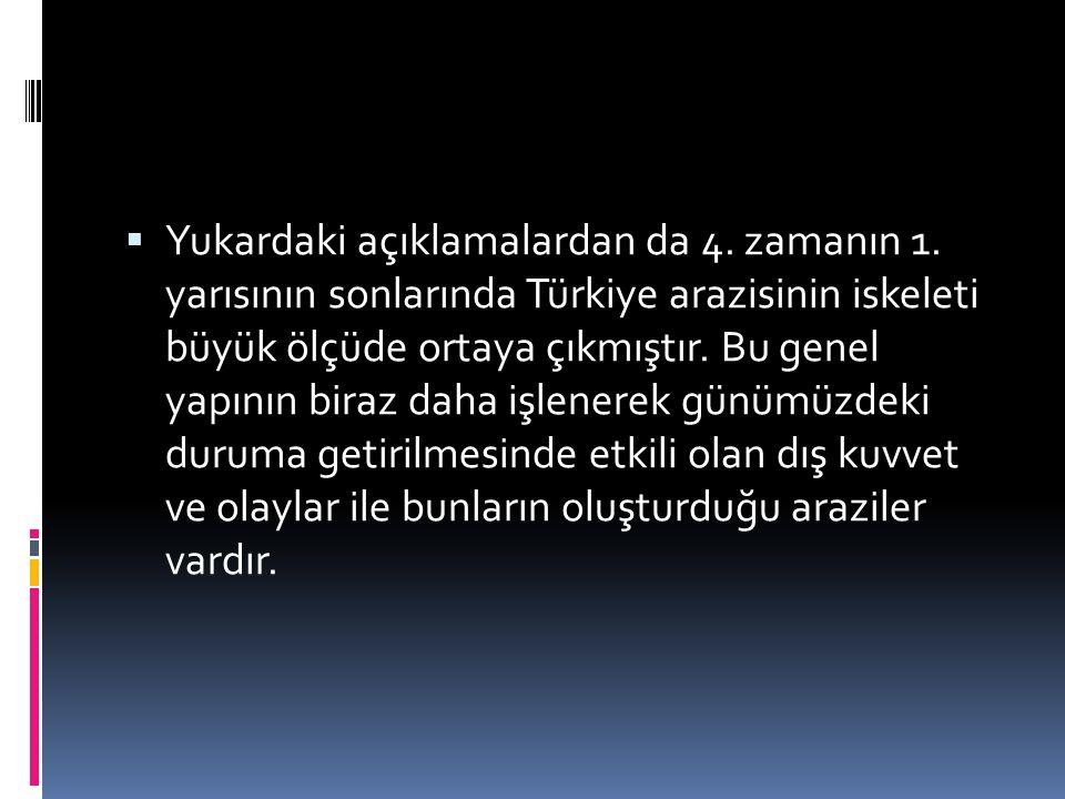  Yukardaki açıklamalardan da 4. zamanın 1. yarısının sonlarında Türkiye arazisinin iskeleti büyük ölçüde ortaya çıkmıştır. Bu genel yapının biraz dah