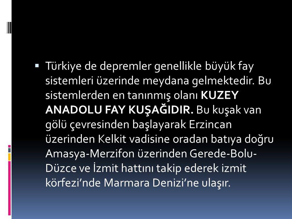  Türkiye de depremler genellikle büyük fay sistemleri üzerinde meydana gelmektedir. Bu sistemlerden en tanınmış olanı KUZEY ANADOLU FAY KUŞAĞIDIR. Bu