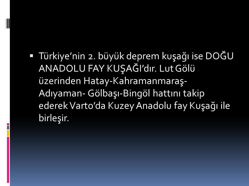  Türkiye'nin 2. büyük deprem kuşağı ise DOĞU ANADOLU FAY KUŞAĞI'dır. Lut Gölü üzerinden Hatay-Kahramanmaraş- Adıyaman- Gölbaşı-Bingöl hattını takip e