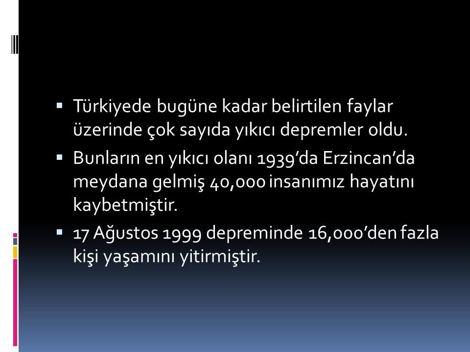  Türkiyede bugüne kadar belirtilen faylar üzerinde çok sayıda yıkıcı depremler oldu.  Bunların en yıkıcı olanı 1939'da Erzincan'da meydana gelmiş 40