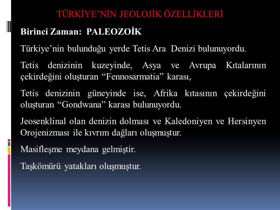 TÜRKİYE'NİN JEOLOJİK ÖZELLİKLERİ Birinci Zaman: PALEOZOİK Türkiye'nin bulunduğu yerde Tetis Ara Denizi bulunuyordu. Tetis denizinin kuzeyinde, Asya ve