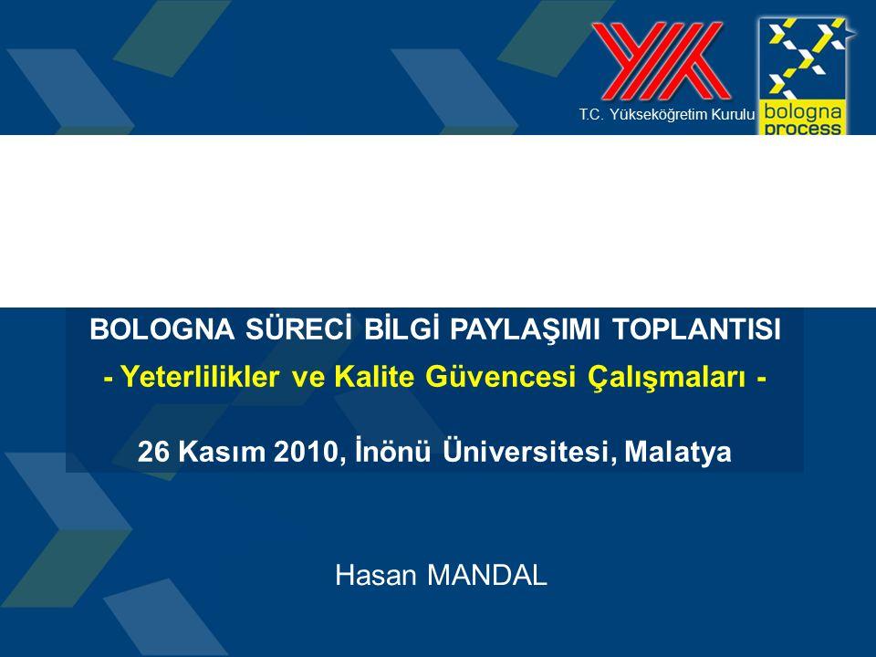 T.C. Yükseköğretim Kurulu Hasan MANDAL BOLOGNA SÜRECİ BİLGİ PAYLAŞIMI TOPLANTISI - Yeterlilikler ve Kalite Güvencesi Çalışmaları - 26 Kasım 2010, İnön