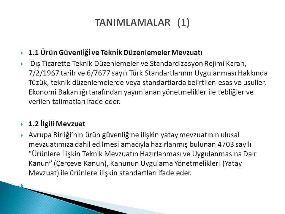 TANIMLAMALAR (1)  1.1 Ürün Güvenliği ve Teknik Düzenlemeler Mevzuatı  Dış Ticarette Teknik Düzenlemeler ve Standardizasyon Rejimi Kararı, 7/2/1967 tarih ve 6/7677 sayılı Türk Standartlarının Uygulanması Hakkında Tüzük, teknik düzenlemelerde veya standartlarda belirtilen esas ve usuller, Ekonomi Bakanlığı tarafından yayımlanan yönetmelikler ile tebliğler ve verilen talimatları ifade eder.