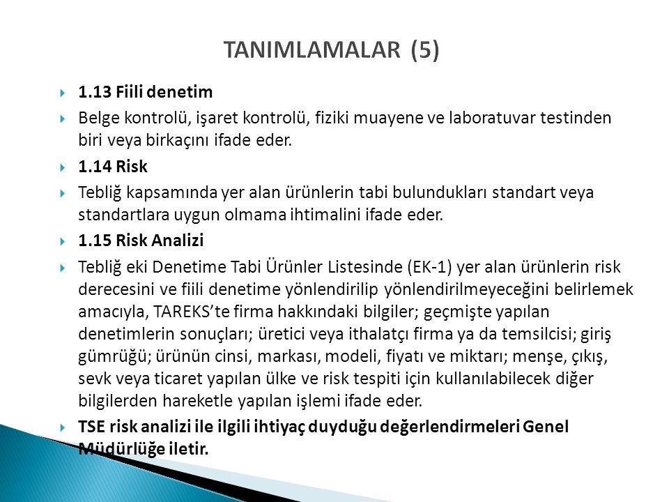 TANIMLAMALAR (5)  1.13 Fiili denetim  Belge kontrolü, işaret kontrolü, fiziki muayene ve laboratuvar testinden biri veya birkaçını ifade eder.  1.1