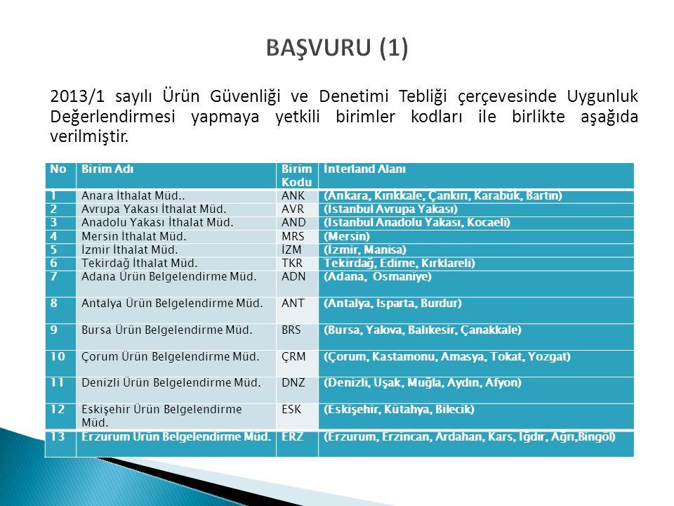 BAŞVURU (1) 2013/1 sayılı Ürün Güvenliği ve Denetimi Tebliği çerçevesinde Uygunluk Değerlendirmesi yapmaya yetkili birimler kodları ile birlikte aşağıda verilmiştir.