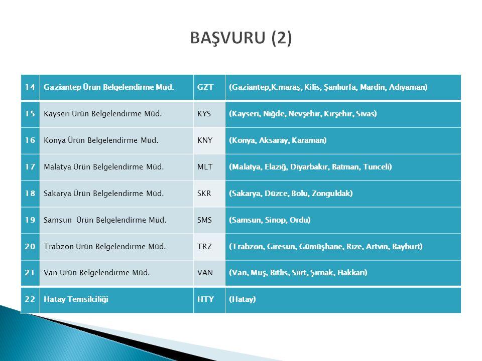 BAŞVURU (2) 14Gaziantep Ürün Belgelendirme Müd.GZT(Gaziantep,K.maraş, Kilis, Şanlıurfa, Mardin, Adıyaman) 15Kayseri Ürün Belgelendirme Müd.KYS(Kayseri