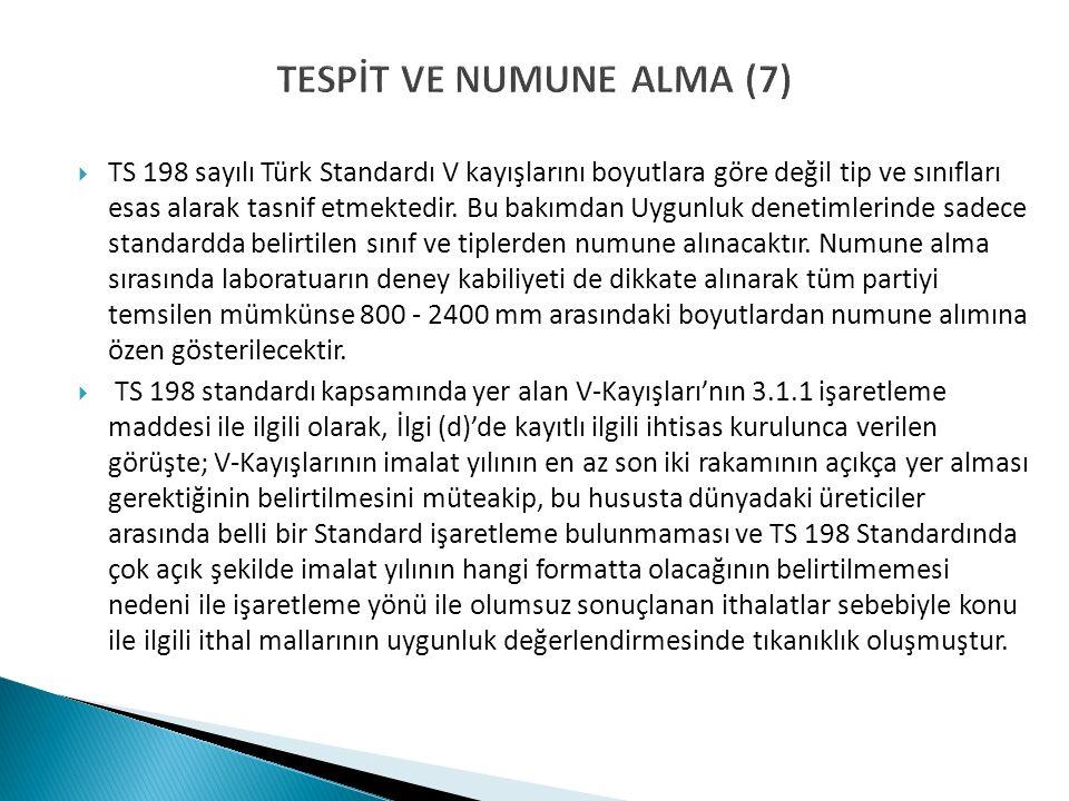 TESPİT VE NUMUNE ALMA (7)  TS 198 sayılı Türk Standardı V kayışlarını boyutlara göre değil tip ve sınıfları esas alarak tasnif etmektedir.