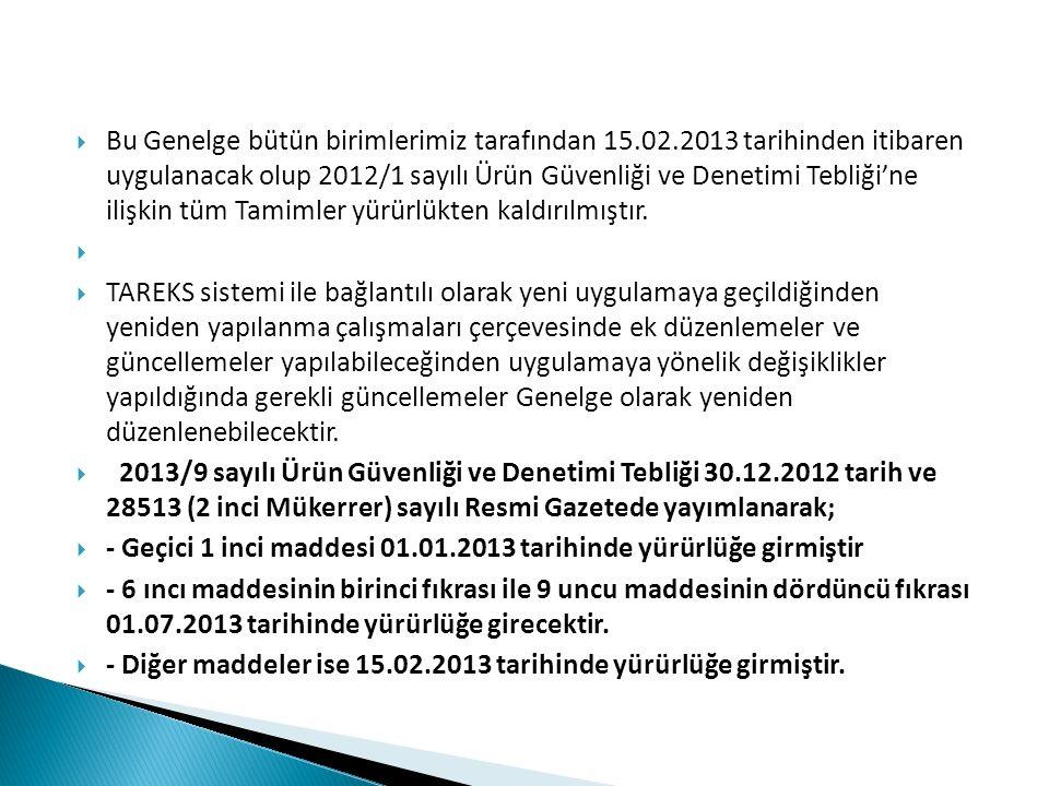  Bu Genelge bütün birimlerimiz tarafından 15.02.2013 tarihinden itibaren uygulanacak olup 2012/1 sayılı Ürün Güvenliği ve Denetimi Tebliği'ne ilişkin