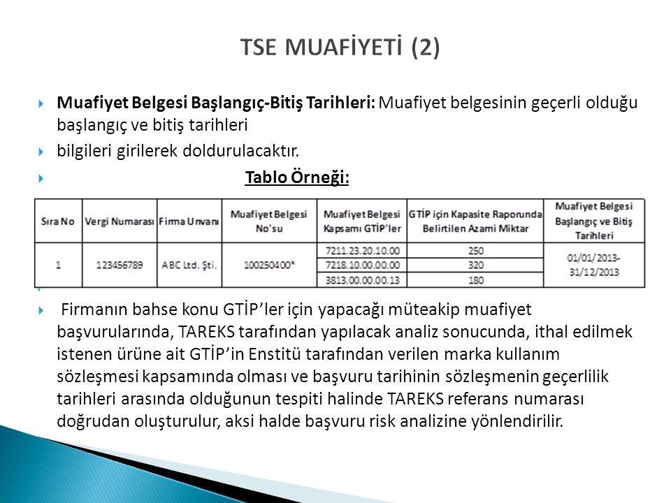 TSE MUAFİYETİ (2)  Muafiyet Belgesi Başlangıç-Bitiş Tarihleri: Muafiyet belgesinin geçerli olduğu başlangıç ve bitiş tarihleri  bilgileri girilerek doldurulacaktır.