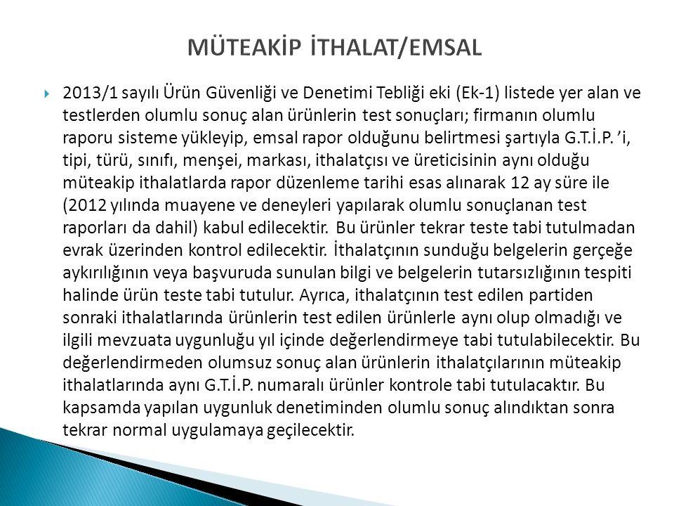MÜTEAKİP İTHALAT/EMSAL  2013/1 sayılı Ürün Güvenliği ve Denetimi Tebliği eki (Ek-1) listede yer alan ve testlerden olumlu sonuç alan ürünlerin test s