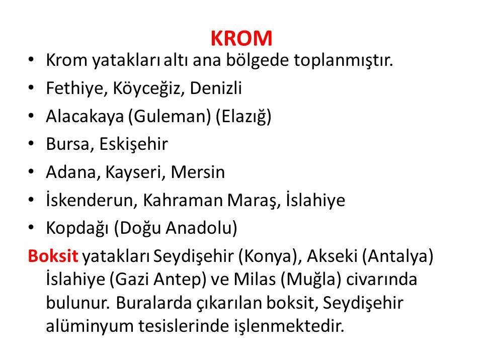 KROM Krom yatakları altı ana bölgede toplanmıştır.