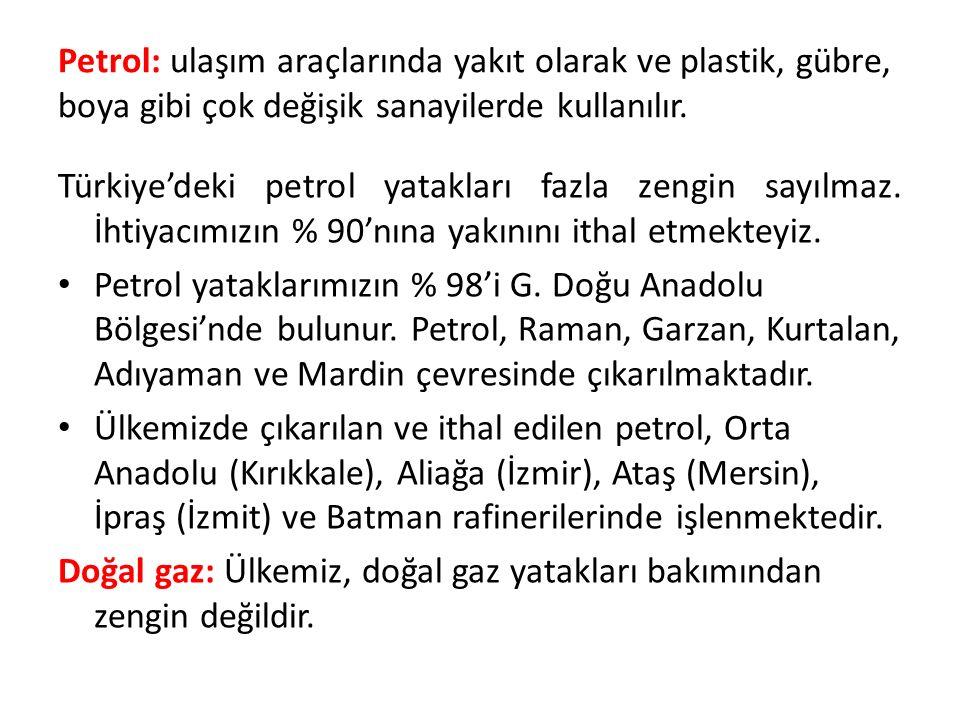 Petrol: ulaşım araçlarında yakıt olarak ve plastik, gübre, boya gibi çok değişik sanayilerde kullanılır.