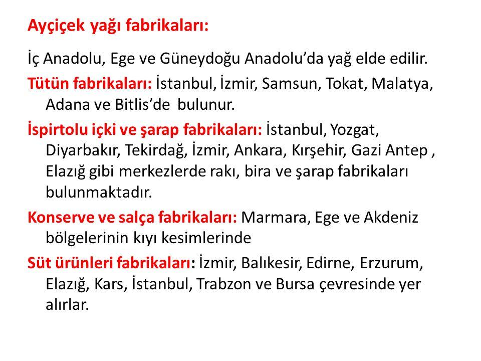 Ayçiçek yağı fabrikaları: İç Anadolu, Ege ve Güneydoğu Anadolu'da yağ elde edilir.