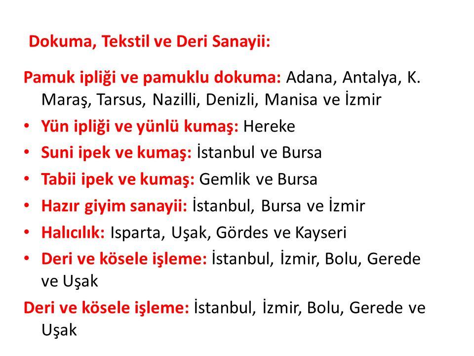 Dokuma, Tekstil ve Deri Sanayii: Pamuk ipliği ve pamuklu dokuma: Adana, Antalya, K.