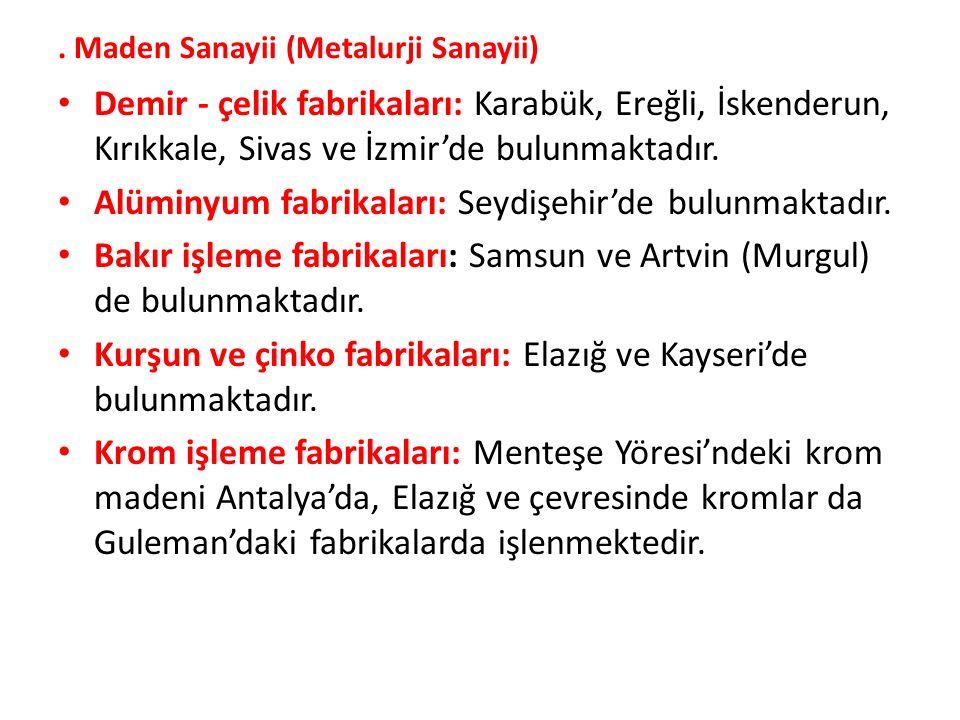 Maden Sanayii (Metalurji Sanayii) Demir - çelik fabrikaları: Karabük, Ereğli, İskenderun, Kırıkkale, Sivas ve İzmir'de bulunmaktadır.
