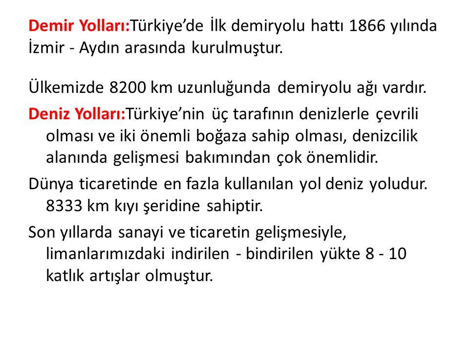 Demir Yolları:Türkiye'de İlk demiryolu hattı 1866 yılında İzmir - Aydın arasında kurulmuştur.