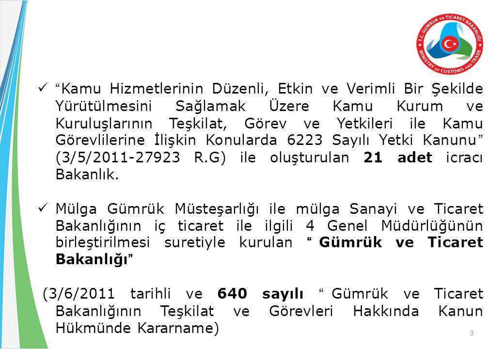 Taşra Teşkilatının Yeniden Yapılanması : 2011/2474, 2013/4322 ve 2013/5249 sayılı Bakanlar Kurulu Kararları.