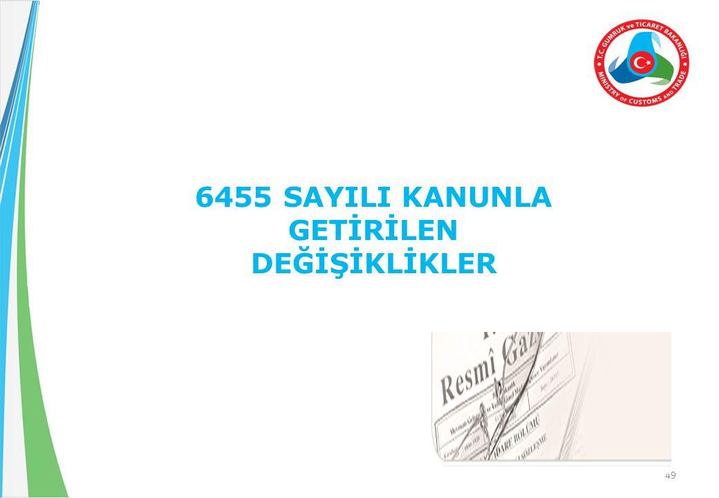 49 6455 SAYILI KANUNLA GETİRİLEN DEĞİŞİKLİKLER
