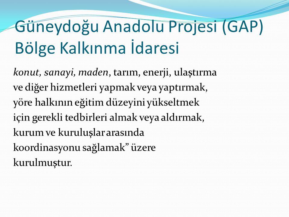 Doğu Anadolu Projesi (DAP), Doğu Karadeniz Projesi (DOKAP) ve Konya Ovası Projesi (KOP) Bölge Kalkınma İdareleri projelerin kapsadığı bölgelerin kalkınmasının hızlandırılması amacıyla kurulmuştur.